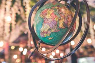 black and green desk globe